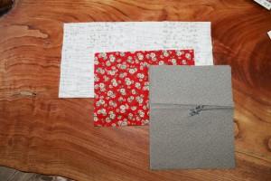 表紙・裏表紙の厚紙のカバー布地又は和紙